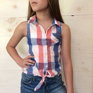 H&M Red/White/Blue Sleeveless Button Up